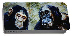 Portable Battery Charger featuring the painting Our Closest Relatives by Hartmut Jager