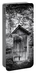 Outhouse In The Forest Black And White Portable Battery Charger