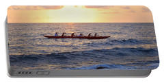 Outrigger Canoe At Sunset In Kailua Kona Portable Battery Charger by Catherine Sherman
