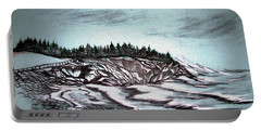 Portable Battery Charger featuring the drawing Oven's Park Nova Scotia by Janice Rae Pariza