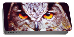 Portable Battery Charger featuring the digital art Owl - Fractal by Lilia D