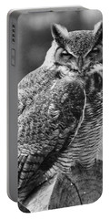 Owl In Black And White Portable Battery Charger