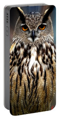 Owl Living In The Spanish Mountains Portable Battery Charger