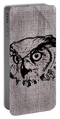 Owl On Burlap Portable Battery Charger