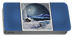 Portable Battery Charger featuring the painting Owl Watch On A Cold Winter's Night In The Round  by Kimberlee Baxter