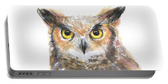 Owl Watercolor Portrait Great Horned Portable Battery Charger