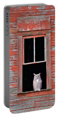 Owl Window Portable Battery Charger by Leland D Howard