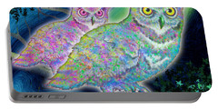 Portable Battery Charger featuring the painting Owls At Midnight  Square by Teresa Ascone
