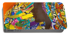 Portable Battery Charger featuring the tapestry - textile Oya I by Apanaki Temitayo M