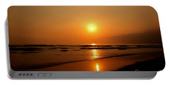 Pacific Sunset Reflection Portable Battery Charger by Debby Pueschel