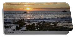 Paddlers At Sunset Horizontal Portable Battery Charger by Denise Bird