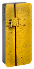 Padlock On An Old Yellow Door Portable Battery Charger