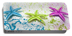Paint Spattered Star Fish Portable Battery Charger