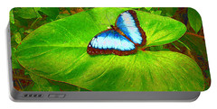 Painted Blue Morpho Portable Battery Charger