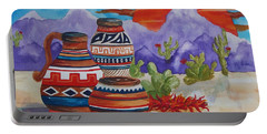 Painted Pots And Chili Peppers Portable Battery Charger by Ellen Levinson