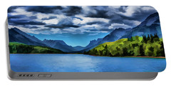 Painting Of A Lake And Mountains Portable Battery Charger