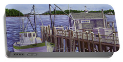 Fishing Boat Docked In Boothbay Harbor Maine Portable Battery Charger by Keith Webber Jr
