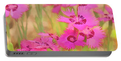 Painting Of Pink Flowers In A Garden Portable Battery Charger