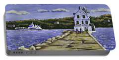 Rockland Breakwater Lighthouse In Maine Portable Battery Charger