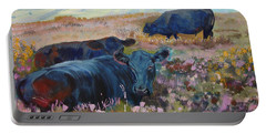 Painting Of Three Black Cows In Landscape Without Sky Portable Battery Charger