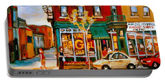 Paintings Of  Famous Montreal Places St. Viateur Bagel City Scene Portable Battery Charger