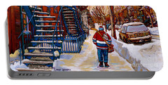 Paintings Of Montreal Beautiful Staircases In Winter Walking Home After The Game By Carole Spandau Portable Battery Charger