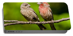 Pair Of House Finches In A Tree Portable Battery Charger