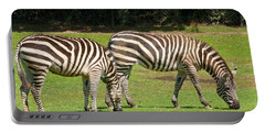 Portable Battery Charger featuring the photograph Pair Of Zebras by Charles Beeler