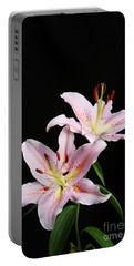 Pale Pink Asiatic Lilies Portable Battery Charger