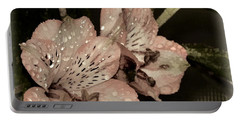 Pale Pink Lilies On Dark Background Portable Battery Charger