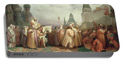 Palm Sunday Procession Under The Reign Of Tsar Alexis Romanov Portable Battery Charger by Viatcheslav Grigorievitch Schwarz