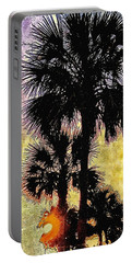 Palm Sunset Portable Battery Charger by Kathy Bassett