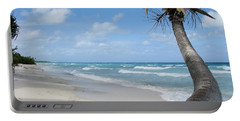 Palm Tree On The Beach Portable Battery Charger
