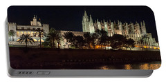 Palma Cathedral Mallorca At Night Portable Battery Charger