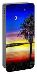 Palmetto Sunset Moon And Stars Portable Battery Charger by Patricia L Davidson