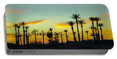 Palm Trees At Dawn Portable Battery Charger