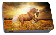 Portable Battery Charger featuring the painting Palomino Horse Sundance  by Shanina Conway