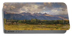 Portable Battery Charger featuring the photograph Panaroma Clearing Storm On A Fall Morning In Grand Tetons National Park by Dave Welling