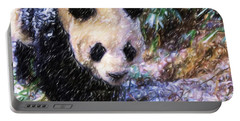 Panda Bear Walking In Forest Portable Battery Charger by Lanjee Chee