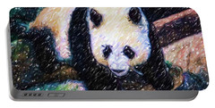 Portable Battery Charger featuring the painting Panda In The Rest by Lanjee Chee