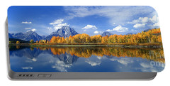 Panorama Fall Morning At Oxbow Bend Grand Tetons National Park Portable Battery Charger