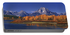 Panorama Fall Morning Oxbow Bend Grand Tetons National Park Wyoming Portable Battery Charger