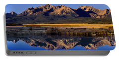 Panorama Reflections Sawtooth Mountains Nra Idaho Portable Battery Charger