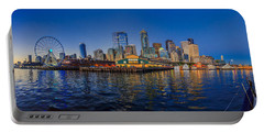 Panorama Seattle Skyline 2 Boats And A Ferris Wheel Portable Battery Charger