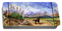 Panorama Triptych Don't Fence Me In  Portable Battery Charger by Marilyn Smith