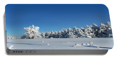 Panorama With Trees Covered With Snow In A Sunny Winter Day Portable Battery Charger