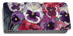 Pansies Portable Battery Charger by Katherine Miller