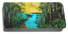 Portable Battery Charger featuring the painting Panther Island In The Bayou by Alys Caviness-Gober