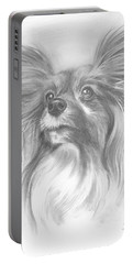 Portable Battery Charger featuring the drawing Papillon by Paul Davenport