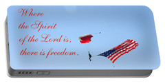 Portable Battery Charger featuring the photograph Parachuting With Old Glory by Connie Fox